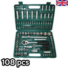 108pc Chrome Socket Set Screwdriver Bit Torx Ratchet Driver Handy Case Tool Kit