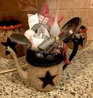 Primitive Country Crackle Coffee Tea Pot Kitchen Gathering Tuck Electric Candle