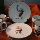 Set 4 Fitz Floyd Variations Happy Santa Salad Plates and Matching Mugs  1980  (R