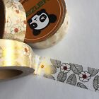 WASHI TAPE FOIL AUTUMN FLORAL 15MM WIDE X 10MTR ROLL PLANNER CRAFT WRAP MAIL ART