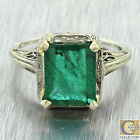 1930s Antique Art Deco 18k Solid White Yellow Gold 3ct Emerald Filigree Ring