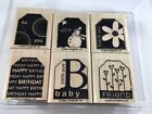 Stampin Up 2005 Terrific Tags Set of 6 Stamps Flower Snowman Friend Baby