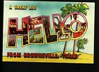 Large Letter Like Modern postcard Brownsville TX Texas HELLO Palm tree