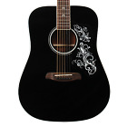 Sawtooth Black Acoustic Dreadnought Guitar with Custom Pickguard