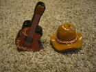 COUNTRY MUSIC GUITAR AND COWBOY HAT SALT  PEPPER SHAKERS NEW IN BOX