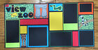 12 x 12 Pre made  DOUBLE Layout 2 pages  Scrapbook Pages  ZOO VIEW
