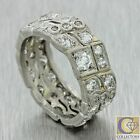 1920s Antique Art Deco Estate Solid Platinum 2ctw Diamond 8mm Band Ring