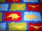 Bright Bold Colorful Large Dinosaurs Linen Look Cotton Fabric BTY x 44W