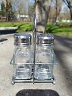 Vintage Style Glass Chrome Salt Pepper Set Caddy Restaurant Diner Mushroom Top
