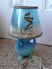 Vintage Van Briggle Pottery 3 Footed Lamp Aqua Matte Finish with Butterfly Shade