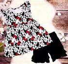 Minnie Mouse Pearl Flutter Top Black Ruffle Shorts Set 6 9 12 18 mo 5 6 7