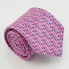 English Collection Pink Silk Tie Blue White Red Mini Snowflakes Made in England