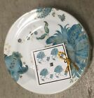 222 Fifth Eliza Teal Appetizer Plates / Dessert Plates Set Of 4 Blue Floral