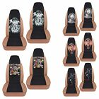 cc front set cotton car seat covers tan w Cobra Wolf skull fits 87 06 wrangler