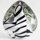FINE Robert Eickholt ART GLASS Sea Rock Paperweight, Black & White, Signed,1990
