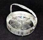Vintage 3 part Glass Candy, Nut Relish Condiment Dish with Silver Plated Caddy