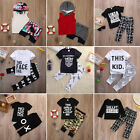 2017 Cute Baby Boy Kids Casual T shirt Tops+Pants 2pcs Outfits Clothes Set Lots