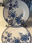 222Fifth Tracy 4 New Salad Plates Blue And White