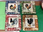 Lille Rooster by Geoffrey Allen Certified International Square Dinner Plates