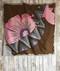 Bianchini Ferier PARIS Pink Gray Brown Abstract Floral Scarf 30 RARE