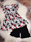 Minnie Mouse Pearl Flutter Top Black Ruffle Shorts Set 6 9 12 18 mo 3 4 5 6 7