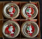 4 Vintage Santa Indents Glass Christmas Ornaments 3 W Germany Shiny Brite box