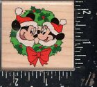 Rubber Stampede Wood Mounted Rubber Stamp Disney Mickey  Minnie Wreath