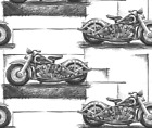 Motorcycles Motorbike Graphite Fabric Printed By Spoonflower BTY