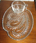 Vntg Federal Glass Co Homestead Paisley Snack Set In Original Box 4 Settings