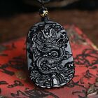 Natural  Obsidian Hand Carved Chinese Dragon Good Luck Charm Pendant Necklace