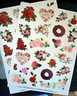 New Rose Garden 48 Stickers Acid Free Roses Red Pink Scrapbooking Cards Gifts