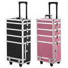 4 in 1 Aluminum Makeup Case Large Capacity Cosmetic Train Case Detachable Wheels