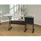 Sewing Machine Table With Three Drawers Lower Storage Shelf Folding Side Shelf