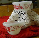 Davy Crockett  Lot Of Red Cereal Bowls  Fire King and Hazel Atlas Indian Fighter
