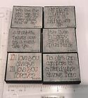 DOTS Greetings Sayings Words Phrases Foam Rubber Stamps Lot Set of 6