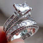 Women fashion jewelry 925 silver white sapphire wedding ring set size 6 10
