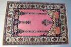 Very Fine Pink ANTIQUE PERSIAN 4' x 6' Wool Prayer Rug c. 1920 High Thread Count