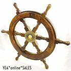 Nautical Ships Wheel Brass Wooden Vintage Pirate Boat Antique Collection Decor