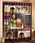 Faith  Family Primitive House Shower Curtain Country Hearts Stars Bathroom