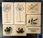 Stampin Up BOTANICAL BLOOMS Rubber wood mount stamp RETIRED Flowers Stems Leaves