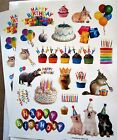 New Fun Birthday Party Animals Balloons Cakes 42 Stickers Acid Free Scrapbooking