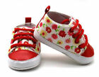 NEW Baby Girls Red Floral High Top Sneaker Crib Shoes 0 6 6 12 12 18 M