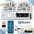 NEW BOSS Marine Boat In Dash Mechless USB SD AUX Stereo w Bluetooth Speakers