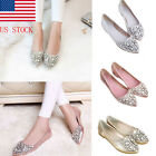 Women Rhinestones Glitter Slip on Ballerina Ballet Pumps Flats Loafers Shoes
