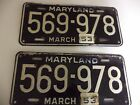 vintage license plates 1953 1952 Maryland license plates tags pair 53 clips