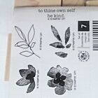 Stampin Up BOTANICAL BLOOMS RUBBER Set NEW TWO STEP 2 FLOWERS Wood FLORAL LEAVES