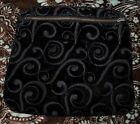 Vintage 1960s Embroidered Velour  Evening Clutch or Cosmetic Bag