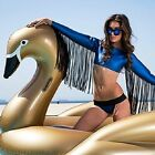 Swimming Pool Giant Inflatable Golden Swan Float Summer Party Jumbo Gold Tube