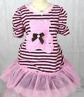 Young Hearts 3T Girls Dress Pink Teddy Bear Black Polka Dots Summer EUC