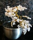Hand Made potted Gemstone Bonsai Tree Rose Quartz New